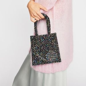 Free People Beaded Multi Mini Tote Bag Statement